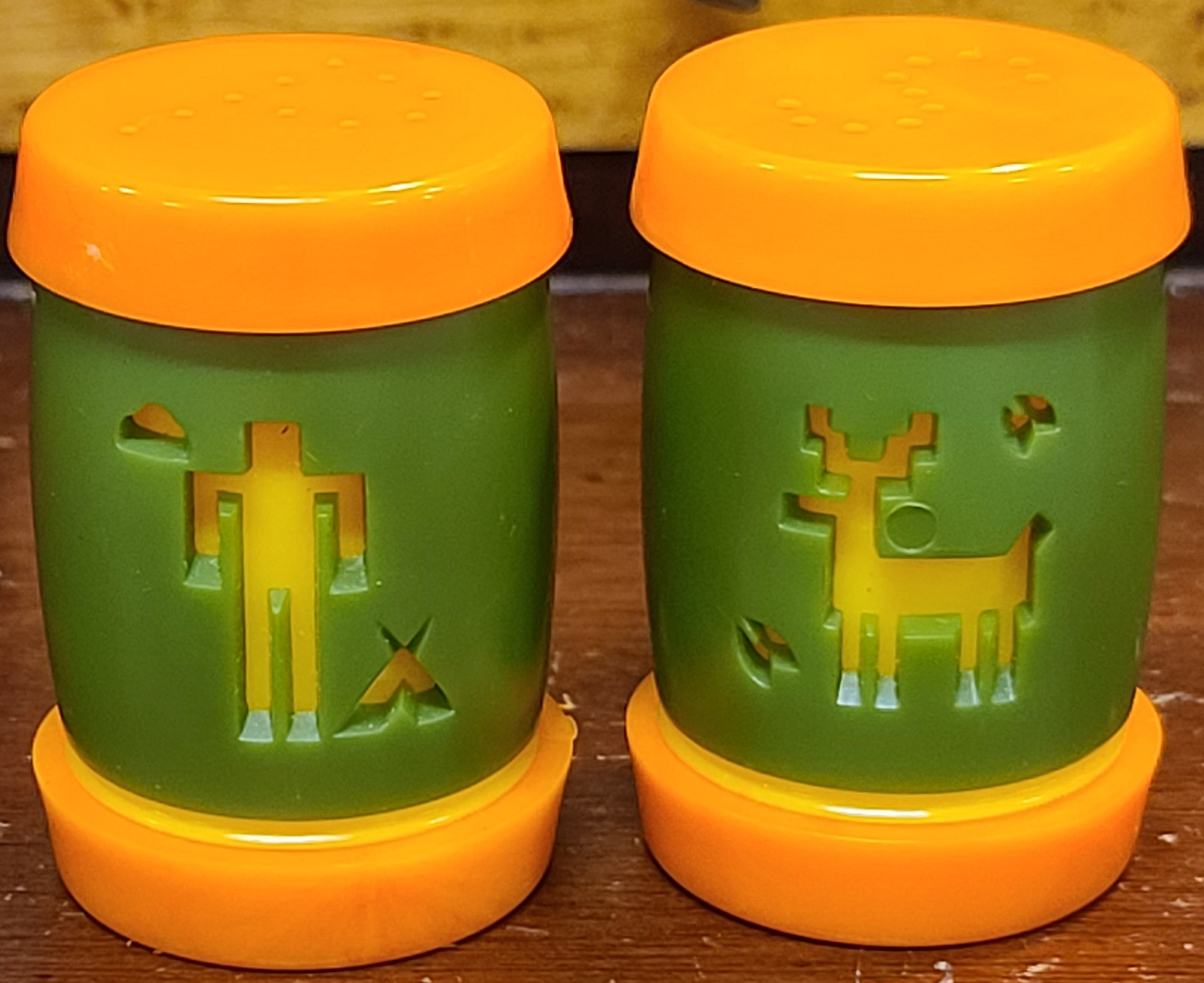 Classic olive-and-orange man and deer salt & pepper shakers