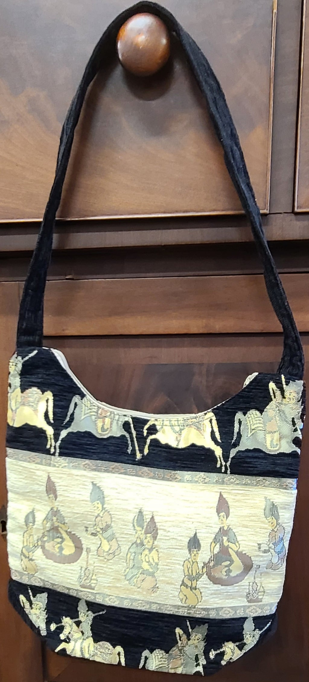 Turkish black and beige day bag purse