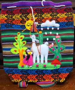 Brightly colored Spanish weave day bag purse with felt llama and girl