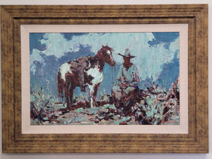 Burt Proctor original painting, cowboy and horse FREE SHIPPING