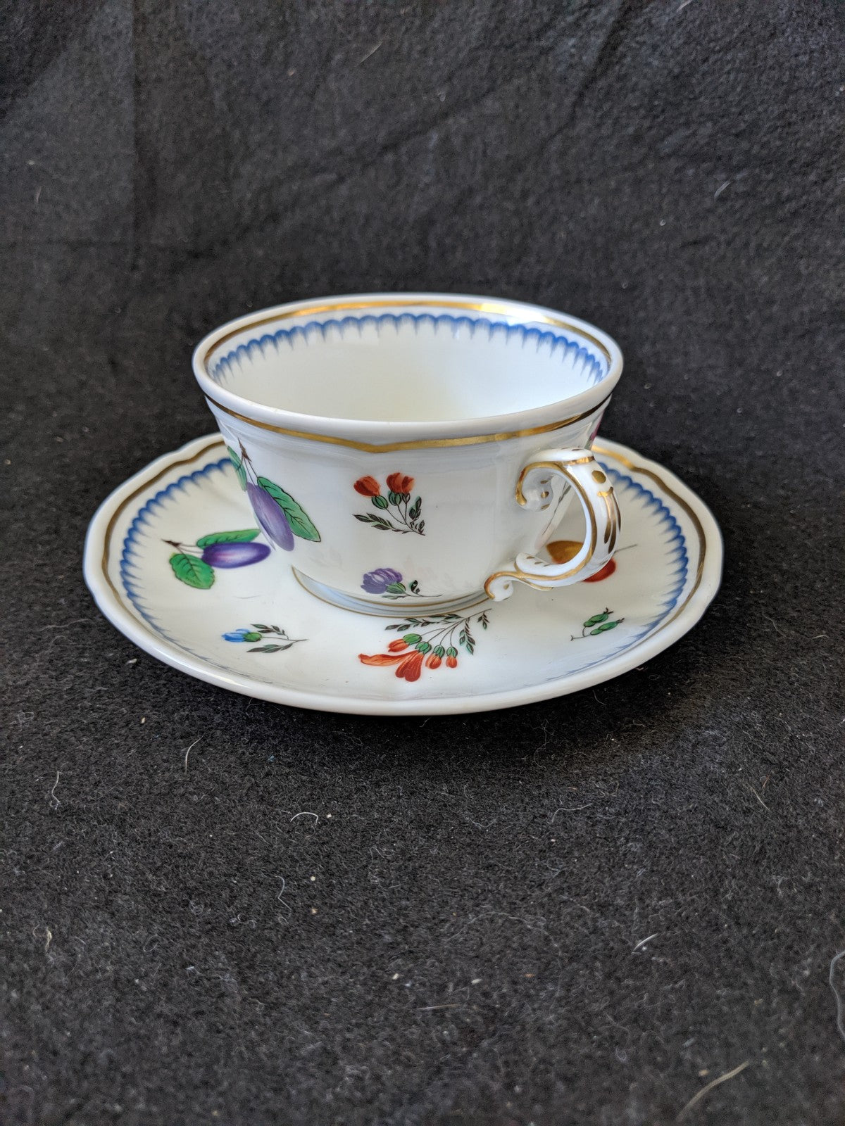 Cup & Saucer set - Fruit, Flowers, trimmed in blue scallops Ginori, Itanlian China