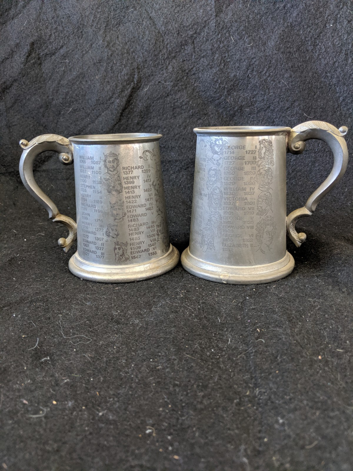 Englishg Pewter Tankards, engraved with Royalty from 1066 to present, pair