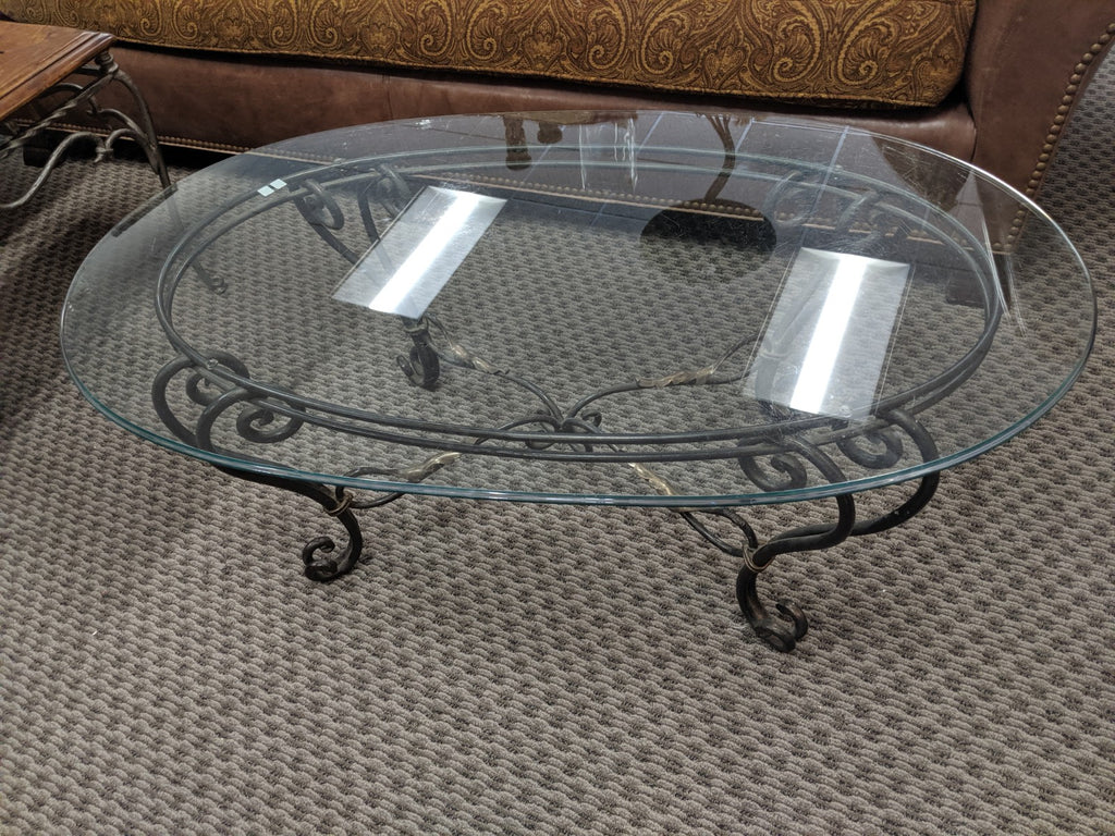 Glass top Coffee Table w wrought iron stand