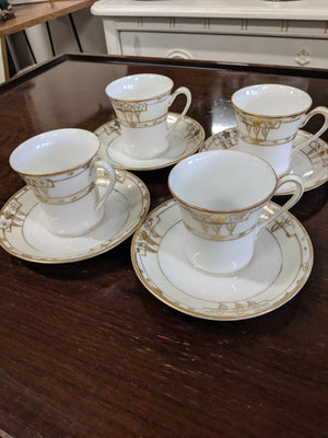 Set of 4 antique Nippon china tea cups with saucers