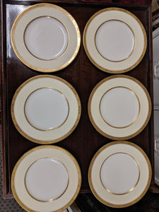 "Set of 6 Royal Worcester ""Diana"" Gold Gilded Dinner Plates"