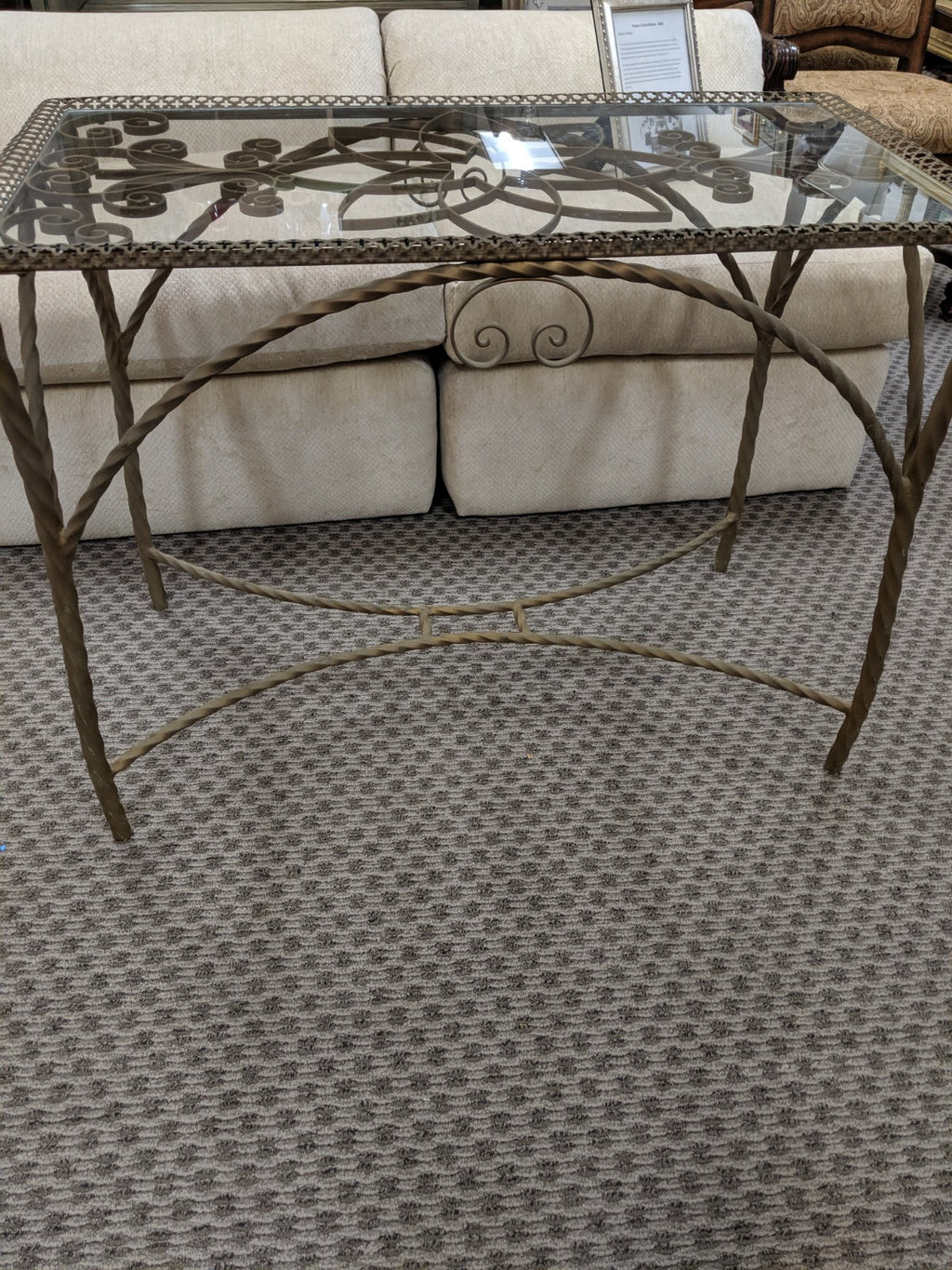 Gold-painted Metal and Glass side or sofa Table