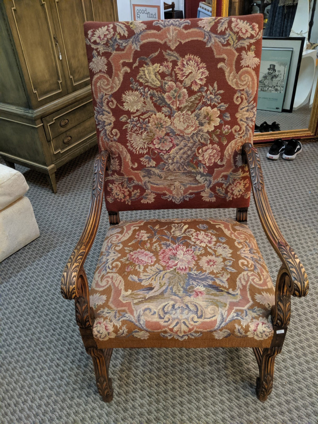 Antique Oak and Tapestry Chair