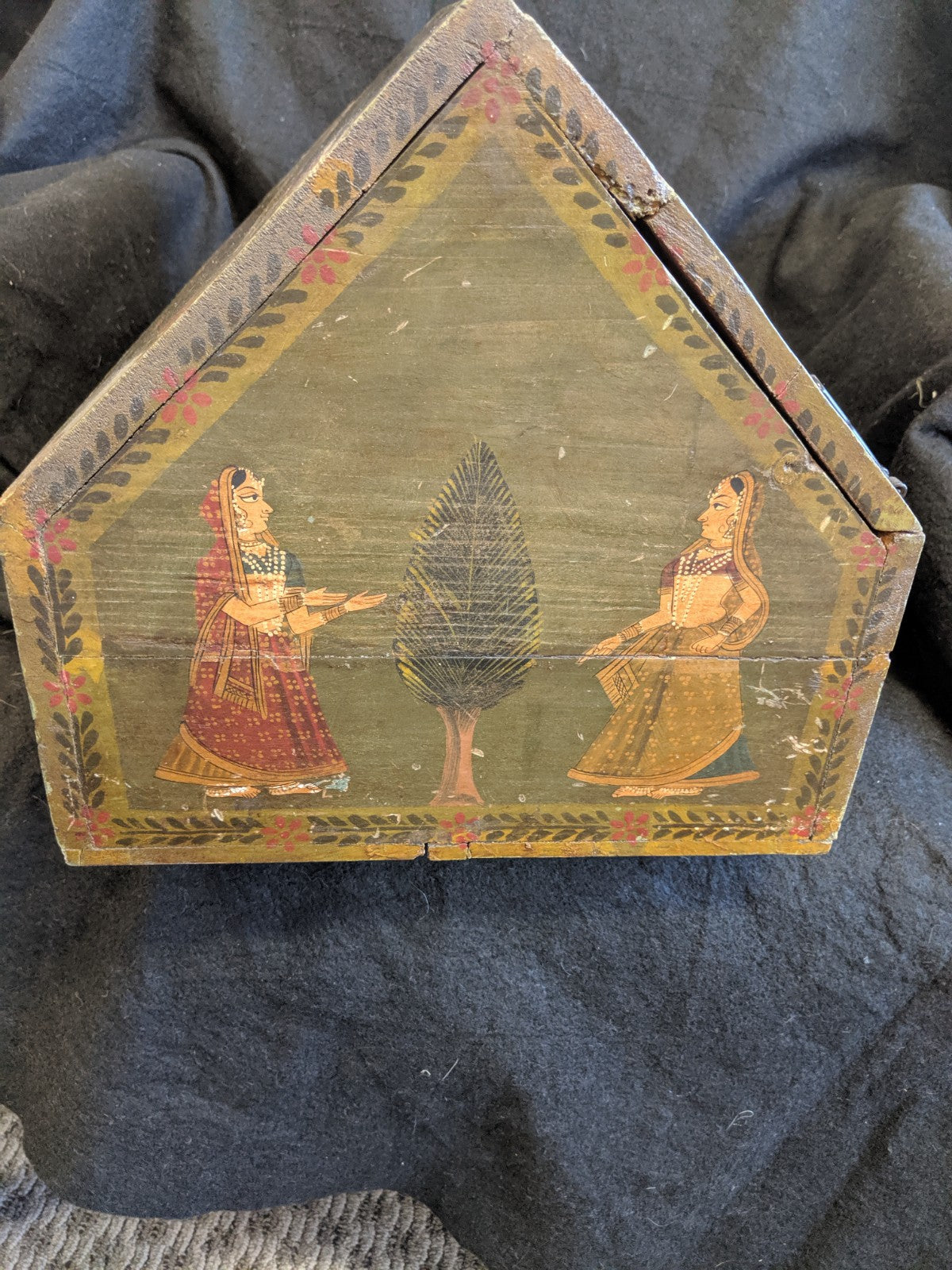 Vintage hand-painted wooden box, India