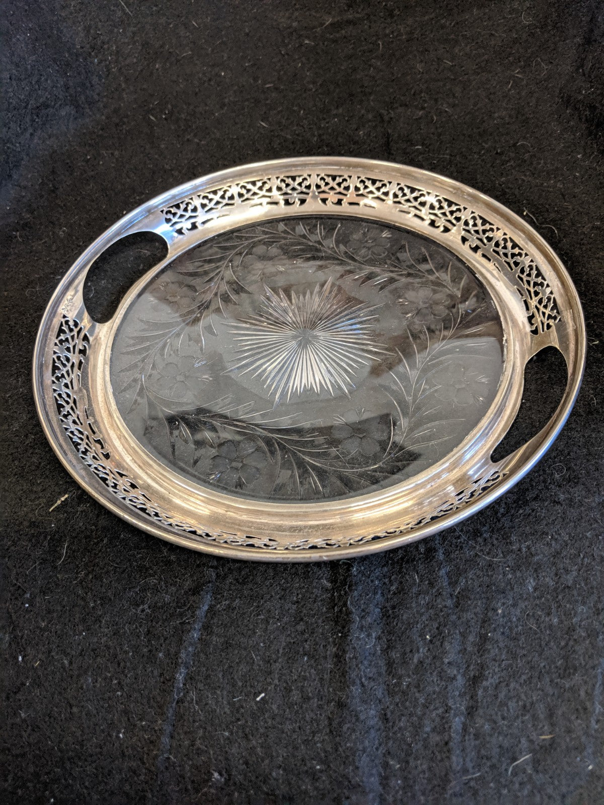 "Antique Frank M. Whiting Co. Sterling-rimmed 9.5"" cut crystal serving tray"