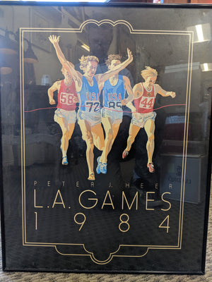 1984 L.A. Games Peter Heer poster art in frame