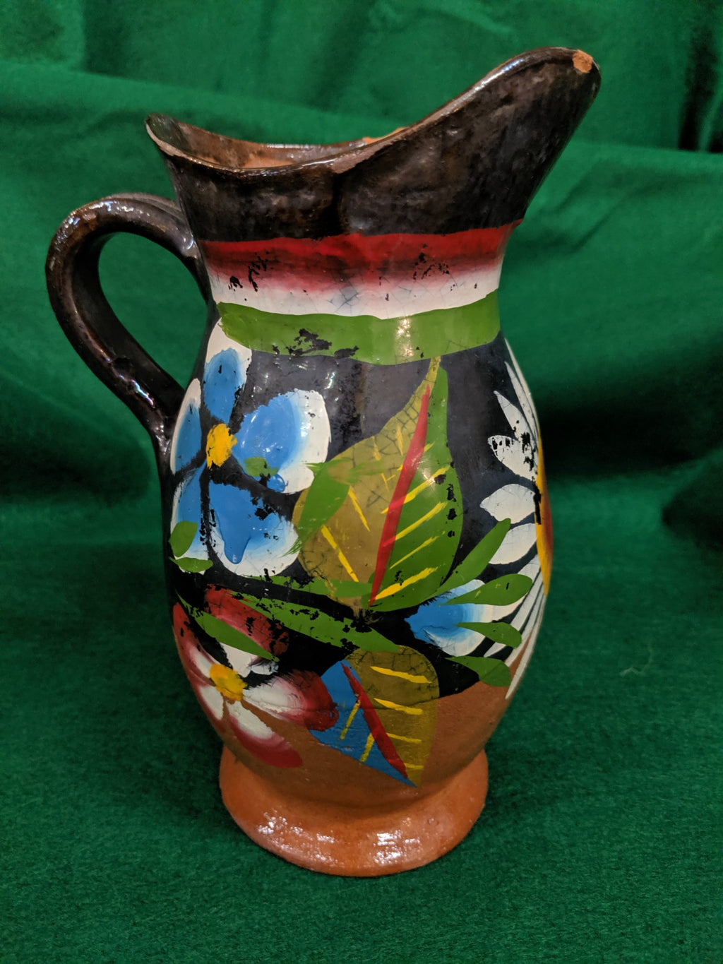 Vintage Hand-made, Hand-painted Mexican pitcher