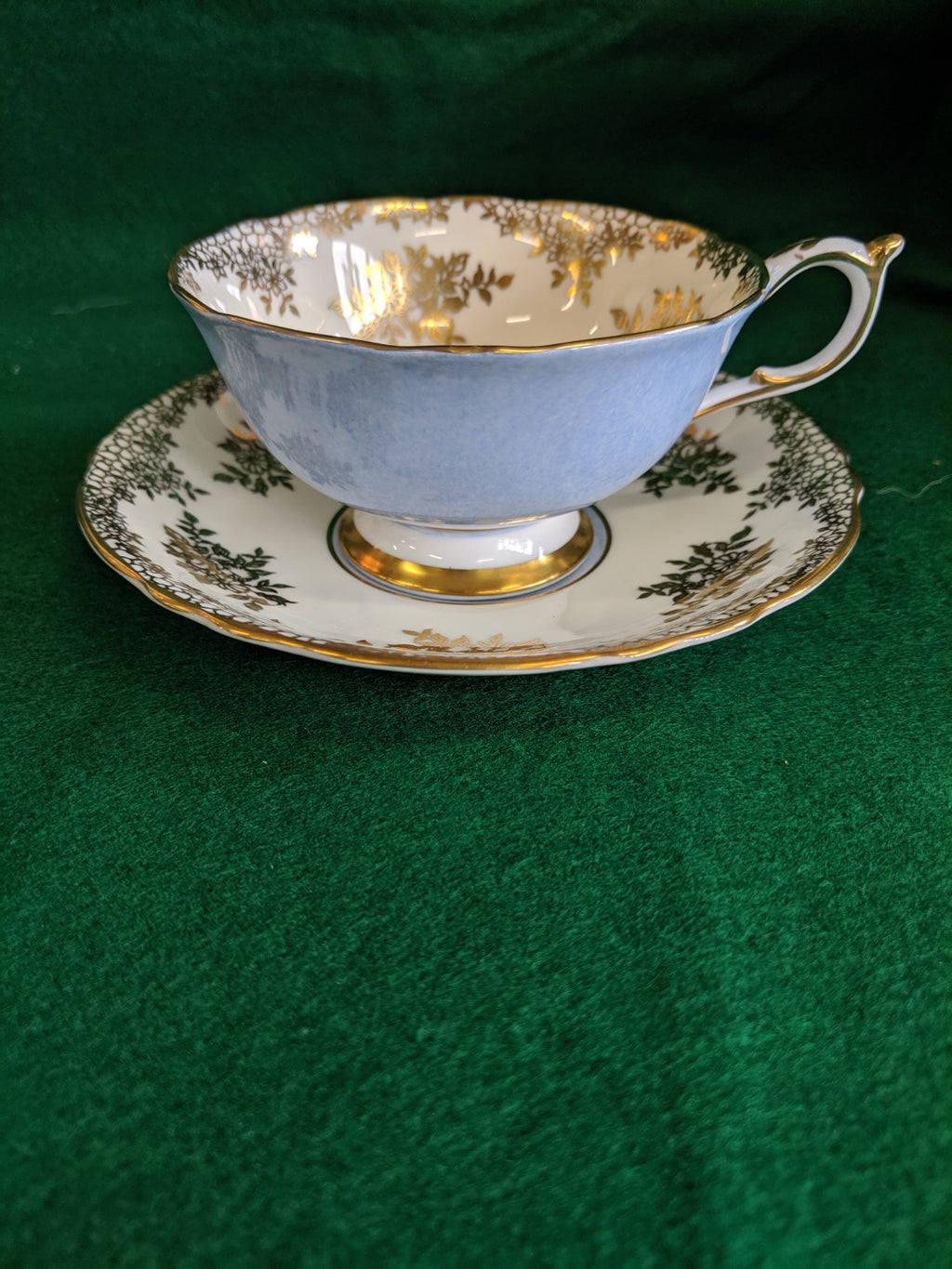 Vintage Paragon tea cup and saucer, baby blue w gold gilt
