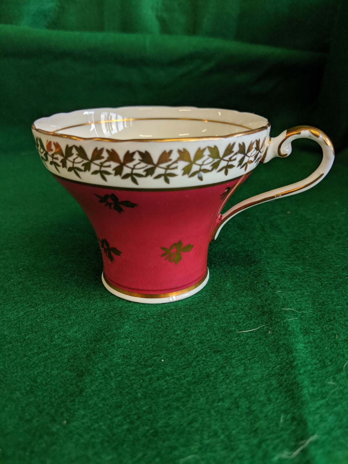Vintage Aynsley tea cup and saucer, deep red w gold leaves