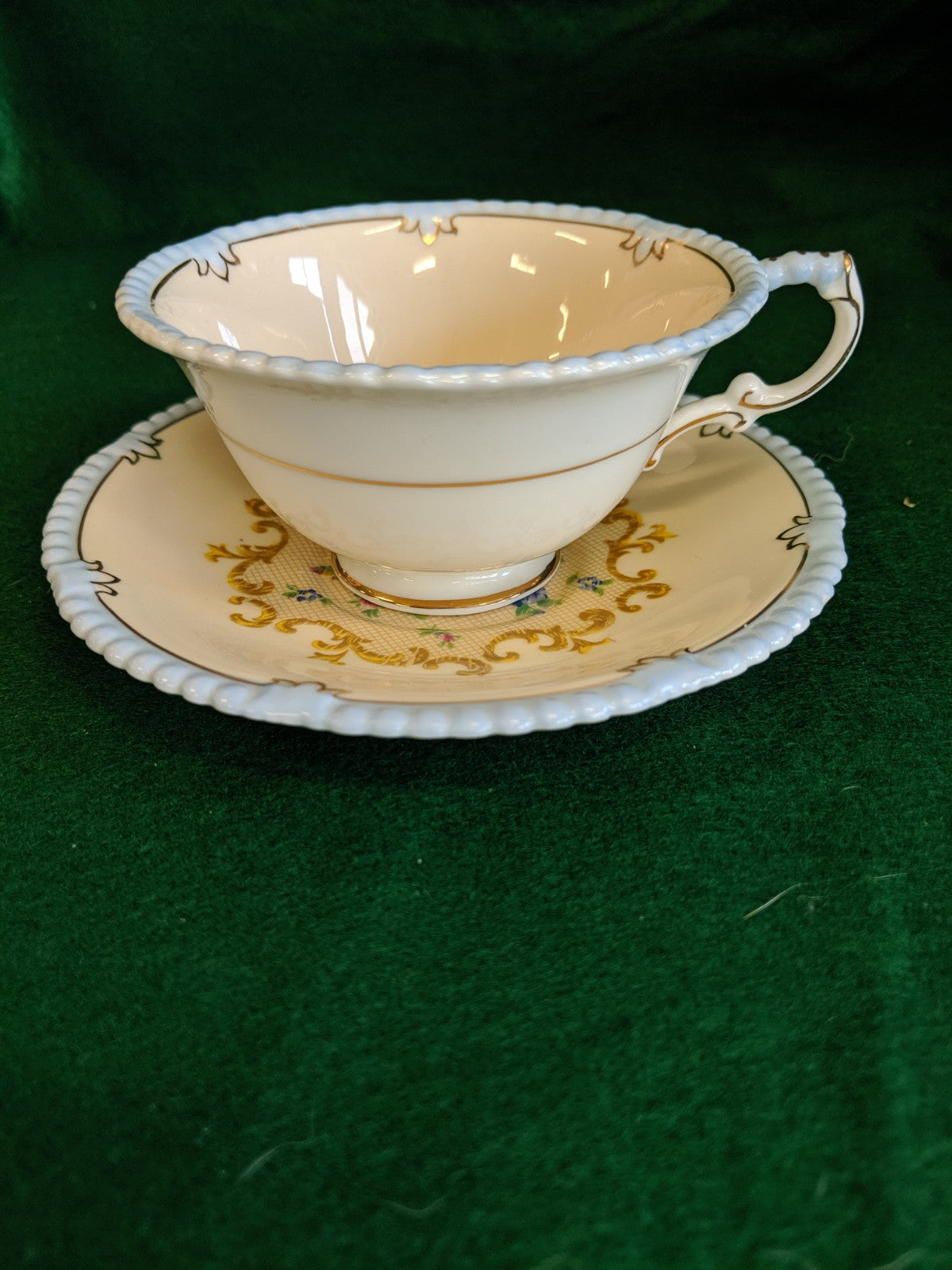 Vintage Paragon teacup and saucer, baby blue & roses