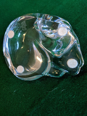 Bacarrat Crystal grooming cat paperweight