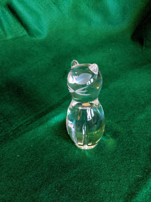 Spode vintage crystal cat w etched eyes and whiskers