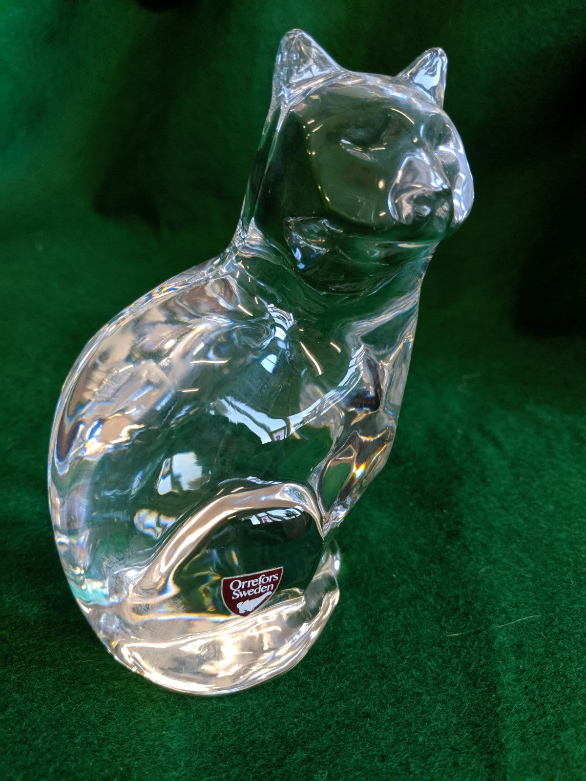 Orrefors Sweden Crystal cat paperweight