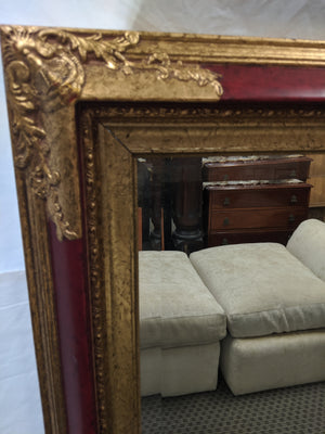 Large Wall Mirror in Red and Gold