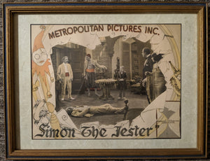 "RARE 1925 ""Simon the Jester"" original theater poster in frame"