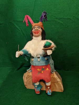 Native American Kachina figurine, The Clown, artists signed and numbered