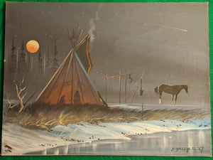 J-Yazzie original oil on canvas, tee-pee under the full moon, 1983