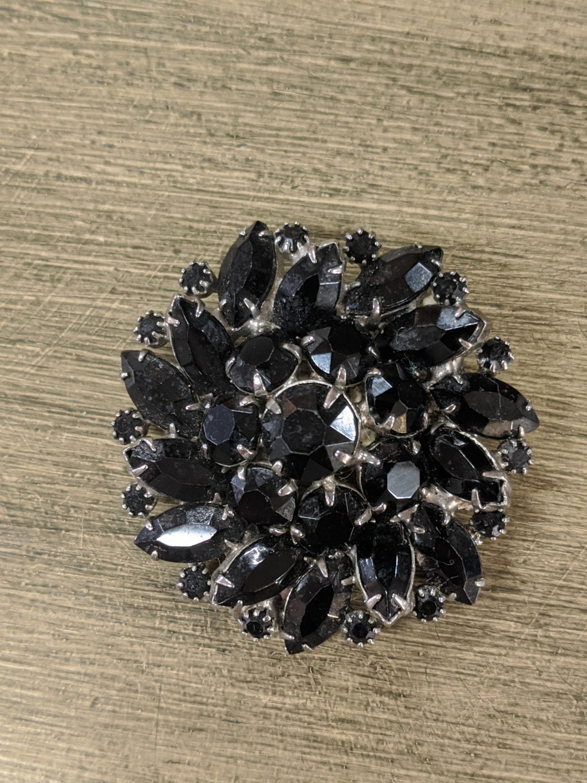 Weiss Vintage Brooch, Black Flower