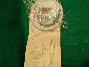 "Franklin Mint Cape Cod Wildflowers 9"" decorative plate w 24k gold"