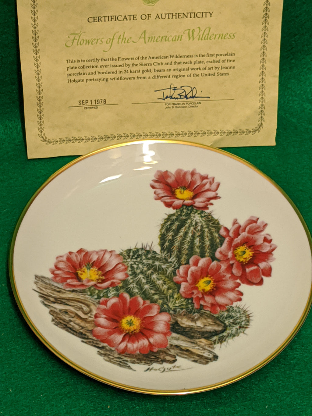 "Franklin Mint Wildflowers of the Southwest 9"" decorative plate w 24k gold"