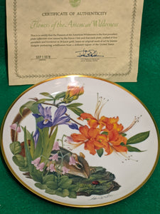 "Franklin Mint Wildflowers of the Appalachian Mountains 9"" decorative plate w 24k gold"