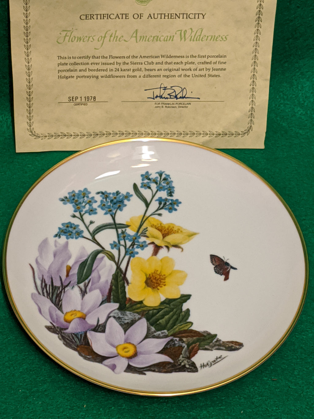 "Franklin Mint Alaskan Wildflowers 9"" decorative plate w 24k gold"