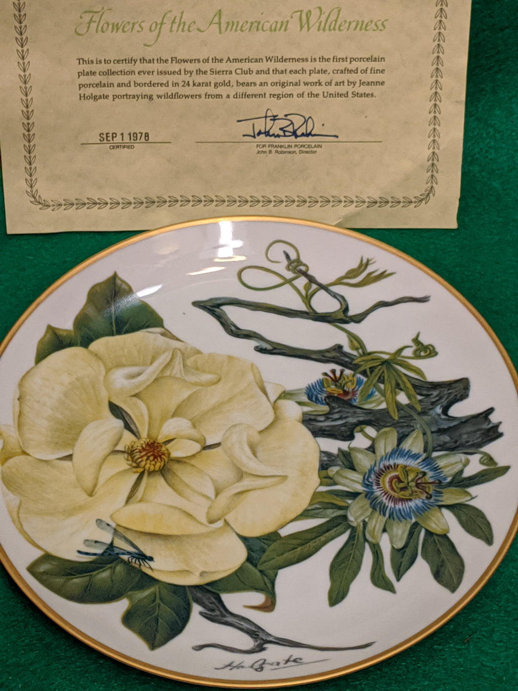 "Franklin Mint Mississippi delta Wildflowers 9"" decorative plate w 24k gold"