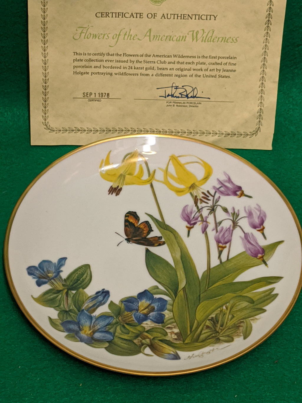 "Franklin Mint Wildflowers of the Rocky Mountains 9"" decorative plate w 24k gold"