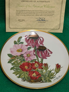 "Franklin Mint Wildflowers of the Prairies 9"" decorative plate w 24k gold"