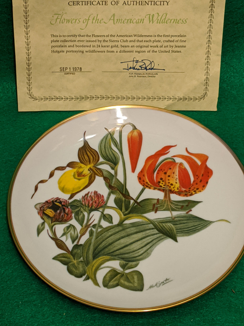 "Franklin Mint New England Wildflowers 9"" decorative plate w 24k gold"