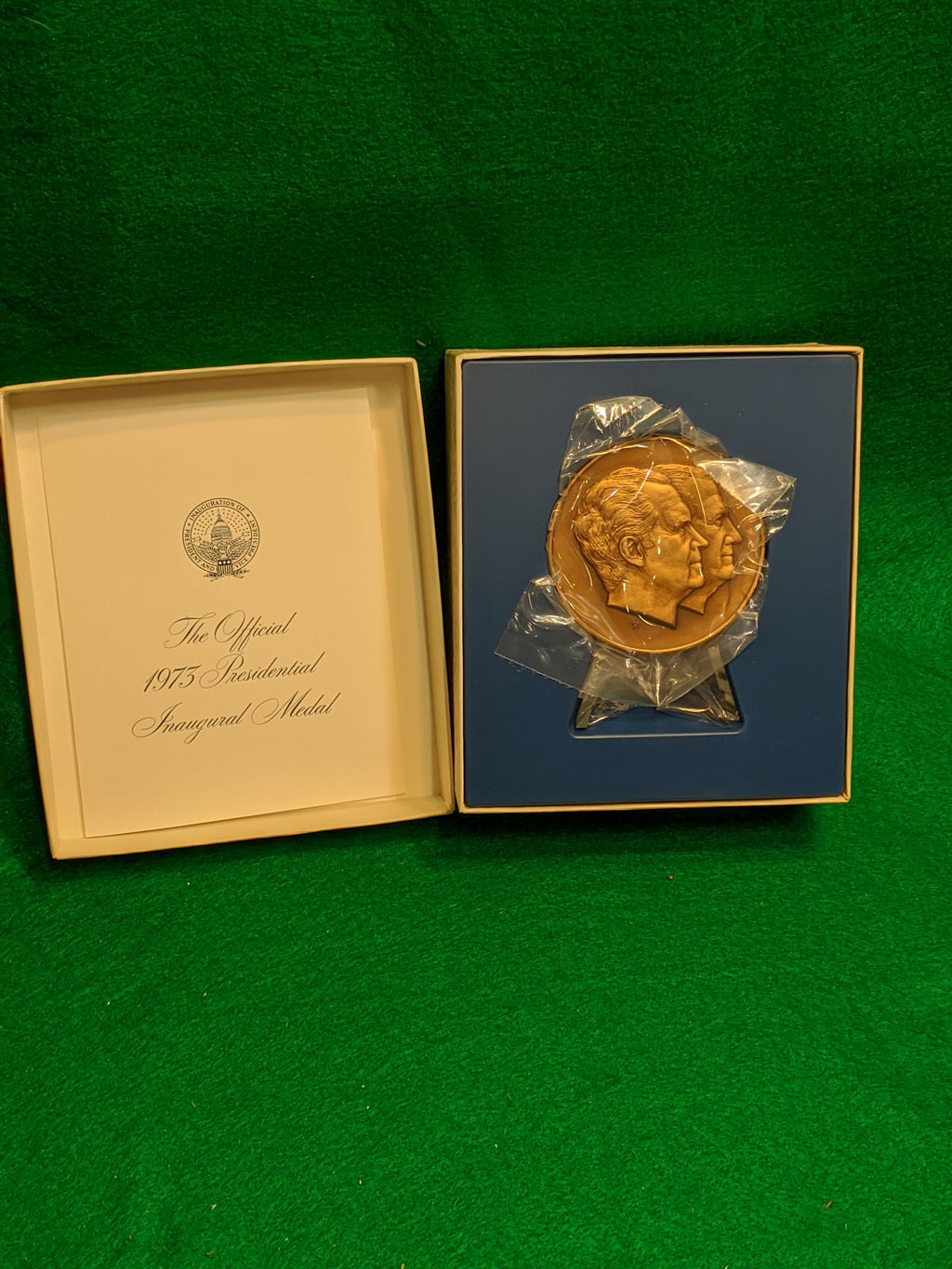 1973 Inaugural Medal, bronze traditional finish, Franklin Mint