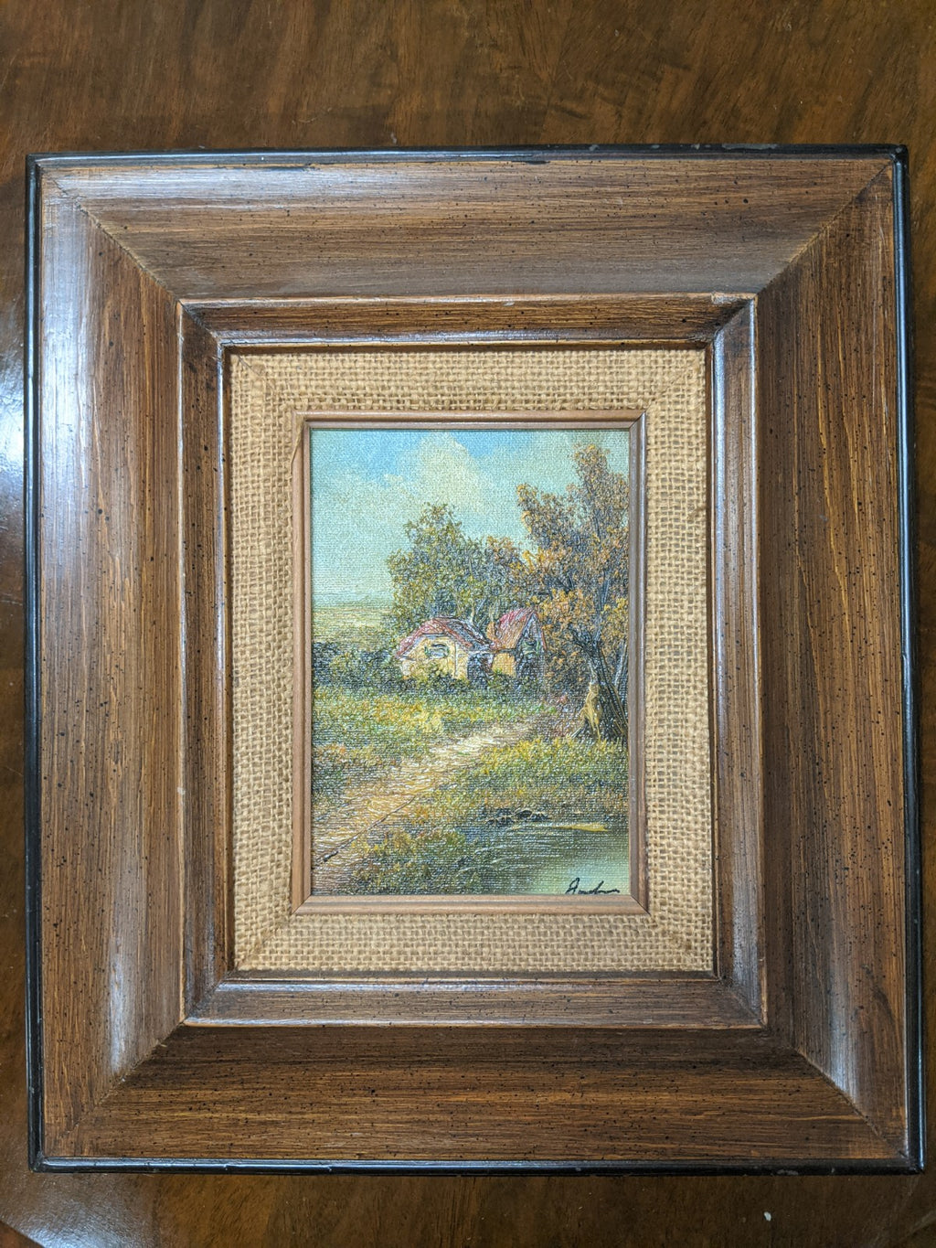 Country Decor Wood Framed oil on canvass, artist signed, pair