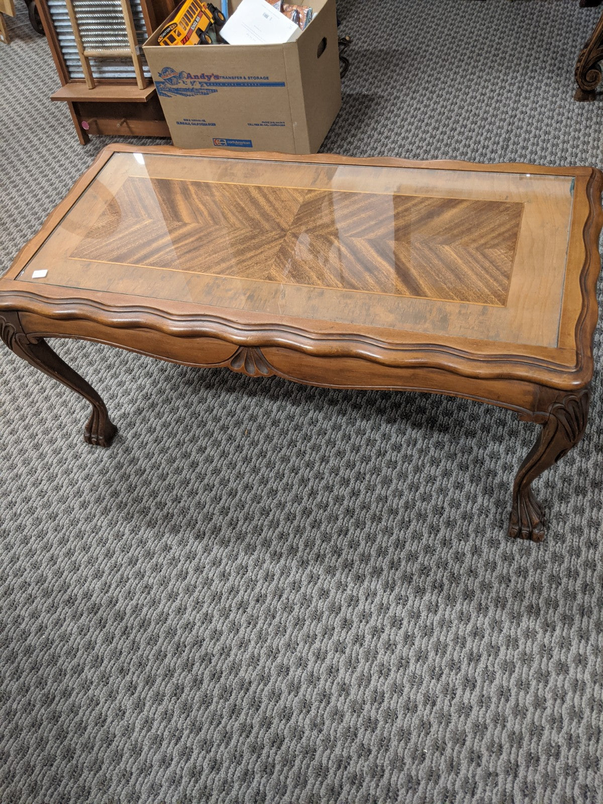 Vintage Claw-foot Coffee Table w herringbone veneer