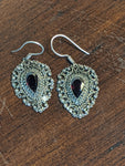 Vintage Sterling and Garnet earrings, OKA, Bali,