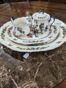 Hancock Indian Tree platters with sugar and creamer dishes