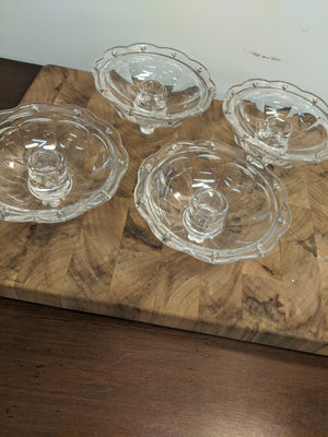 Vintage Set of four glass candle collars