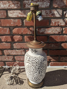 Vintage white porcelain mid-century lamp base