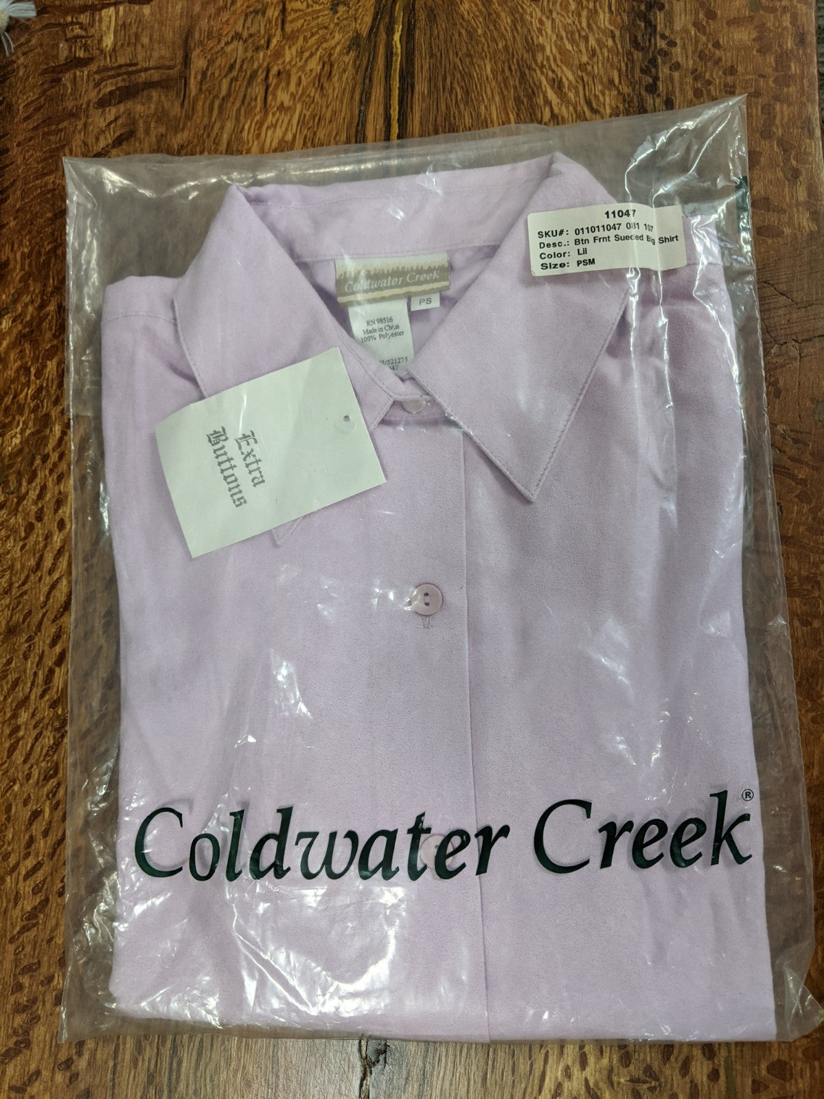 Coldwater Creek Btn Frnt Sueded Big Shirt, NWT