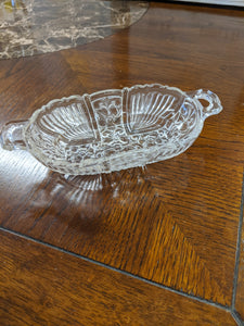 Vintage deco glass side boat dish with daisies
