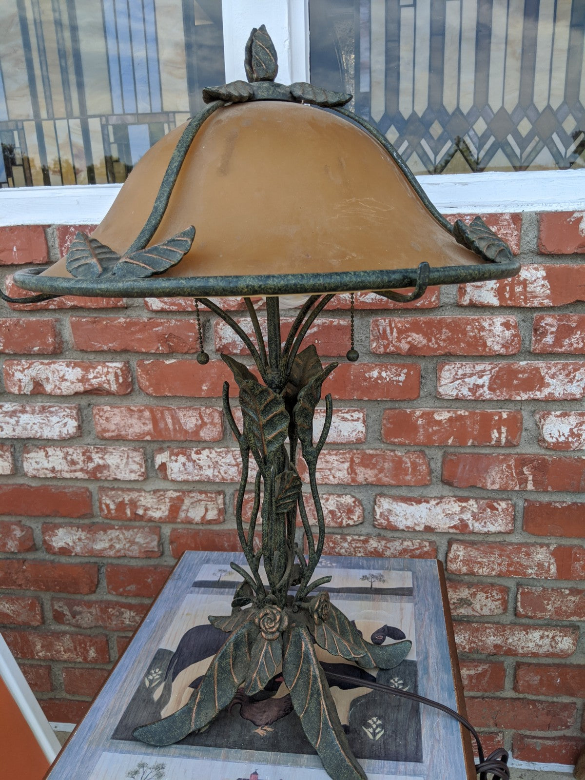Metal floral desk lamp w glass shade