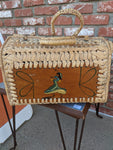 Vintage grass weave and wood hand case with Spanish themes