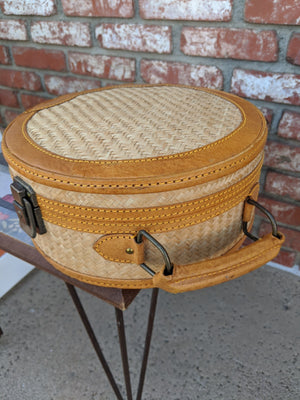 Vintage leather-trimmed, herringbone grass weave train case