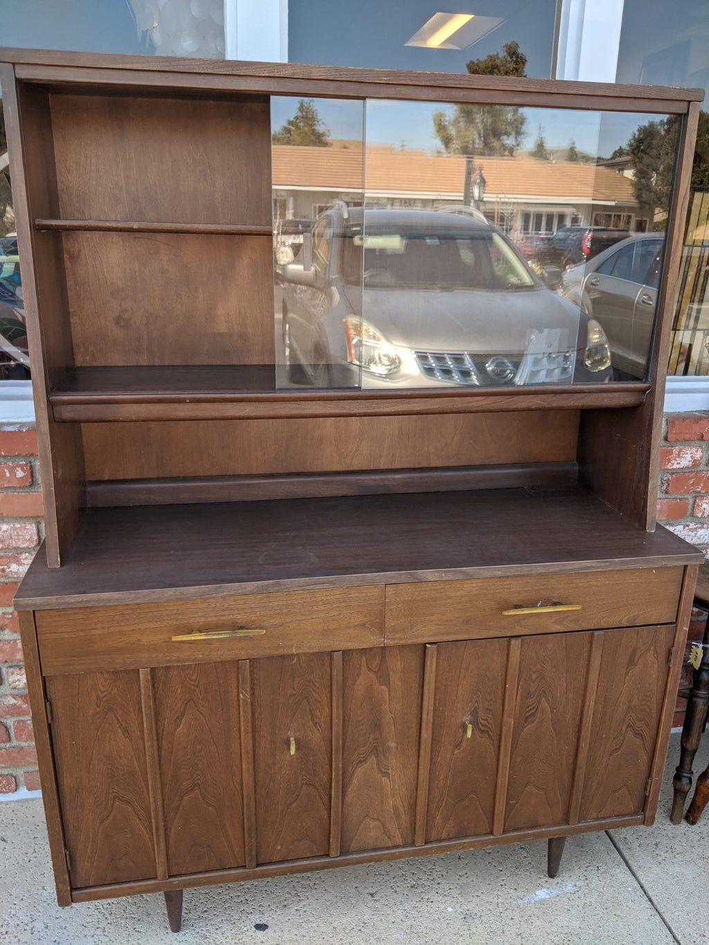 Vintage Holman mid-century buffet and hutch, walnut