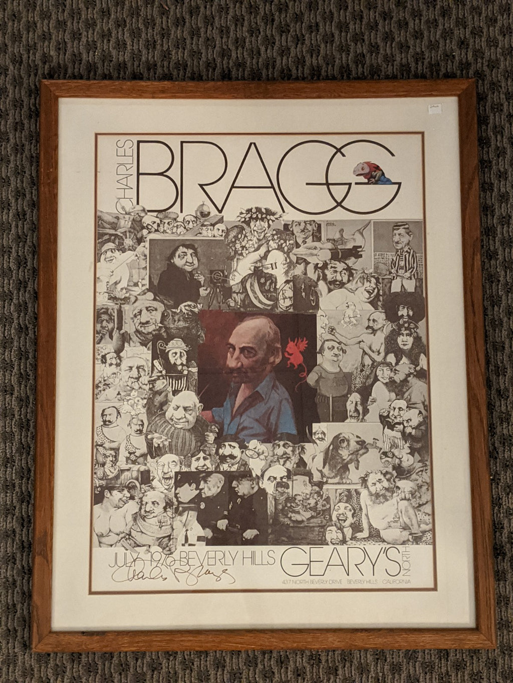 Charles Bragg hand signed collage poster art, 1976