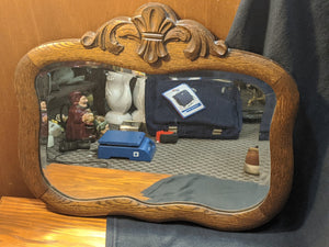 Antique oak-framed wall mirror w bevelled glass
