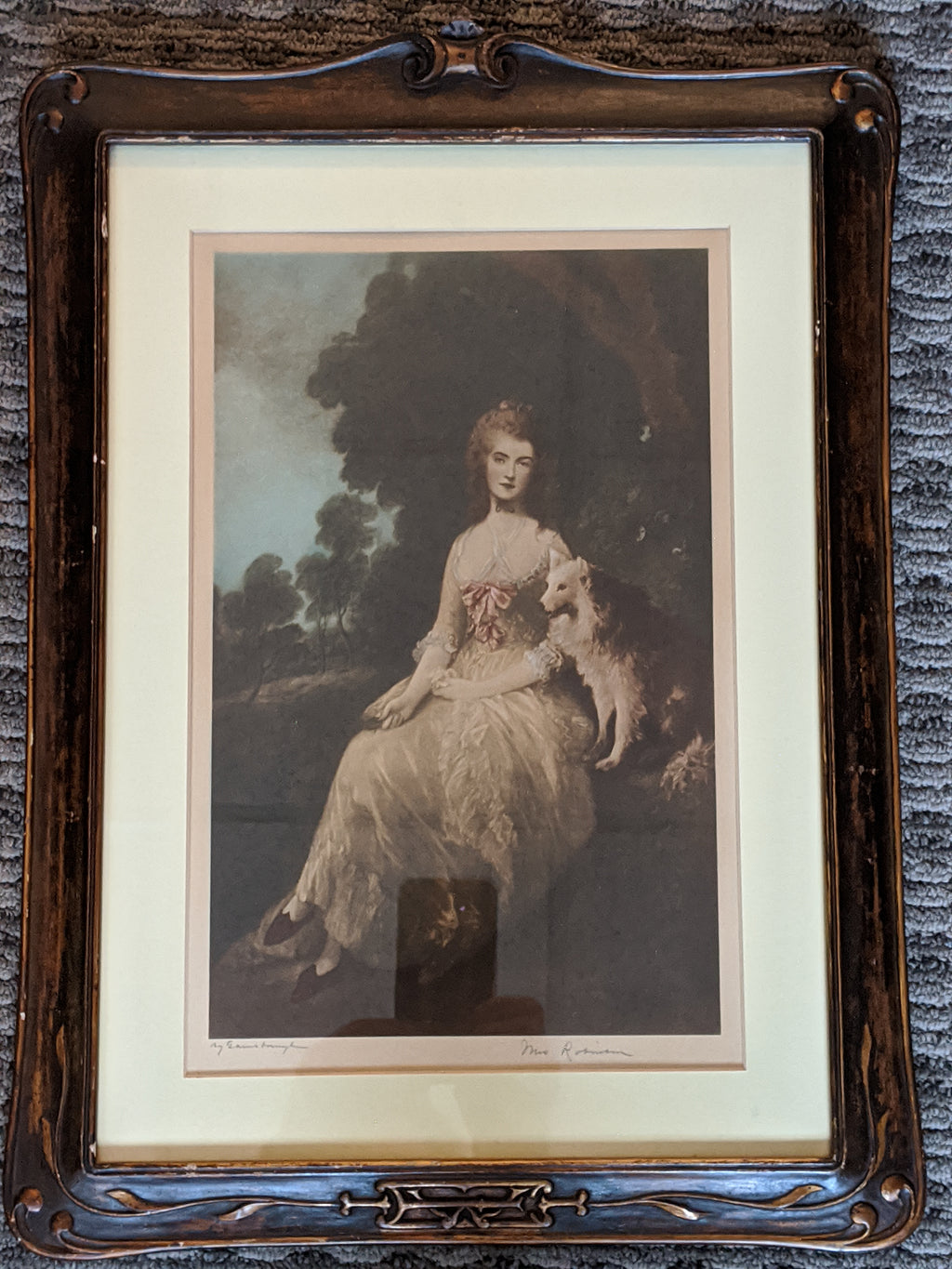 Antique Mrs. Robinson print in wooden frame
